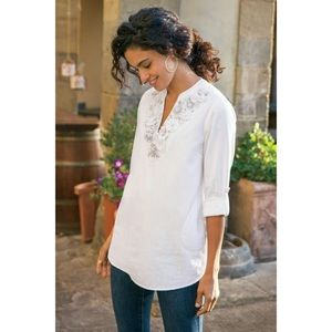 Soft Surroundings 3-D Embellished Linen Tunic Top
